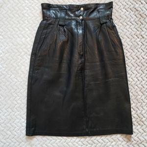 Vintage Lamb Skin Leather Skirt